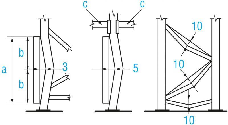 Alzados con el método de medición para evaluar los daños en puntales y celosías de una estantería regulable